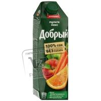 Сок яблоко-апельсин-персик-морковь, Добрый, 1л (тетра-пак)