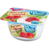 Йогурт с клубникой 2,5%, Фруате, 125г (ванночка)