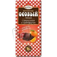 Шоколад темный особый с апельсином и грейпфрутом, Крупской, 90г (бумажная упаковка)