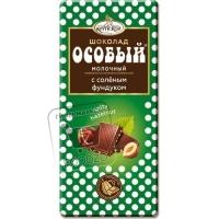 Шоколад особый молочный с соленым фундуком, Фабрика имени Крупской, 90г (бумажная упаковка)