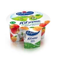 Творог 101 зерно персик-абрикос 5%, Савушкин, 130г (стакан)