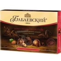Конфеты дробленный миндаль-ореховый крем в темном шоколаде, Бабаевский, 200г (картонная коробка)