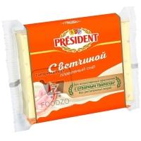 Сыр плавленый с ветчиной 40%, President, 150г (флоу-пак)