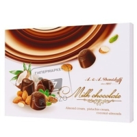 Конфеты ассорти фисташка-миндаль-кокос в молочном шоколаде, A&A.DEMIDOFF, 284г (коробка)