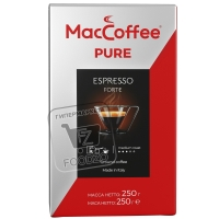 Кофе молотый pure espresso forte италия, MacCoffee, 250г (флоу-пак)
