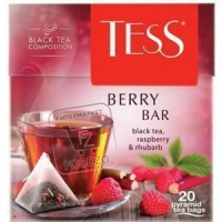 Чай черный малина-ревень пакетированный, Tess, 20пакетиков (картонная упаковка)