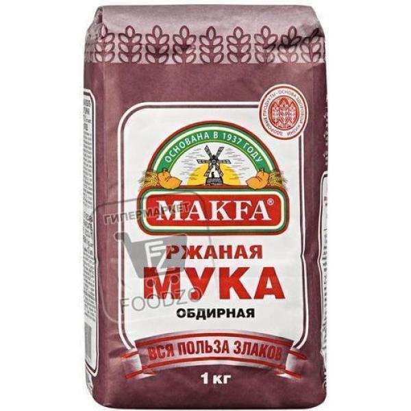 Мука ржаная обдирная, Makfa, 1кг (мягкая упаковка)