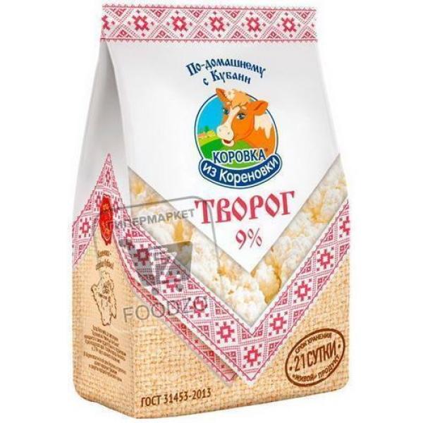 Творог 9%, Коровка из Кореновки, 340г (пэт пакет)