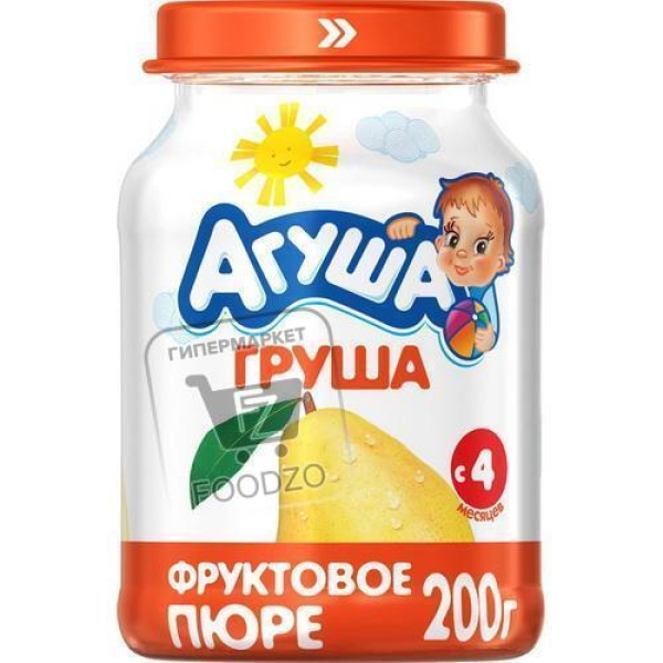 Пюре фруктовое груша, Агуша, 200г (стеклянная банка)