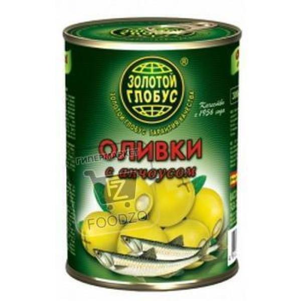Оливки с анчоусом, Золотой глобус, 280г (ж/б с ключом)