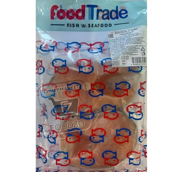 Стейк лосося замороженный, FoodTrade, 400г (вакуумная упаковка)