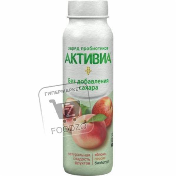 Йогурт питьевой яблоко-персик без сахара 2%, Активиа, 260г (пластиковая бутылка)
