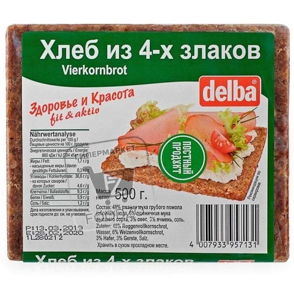Хлеб из 4-х злаков, Delba, 500г (флоу-пак)