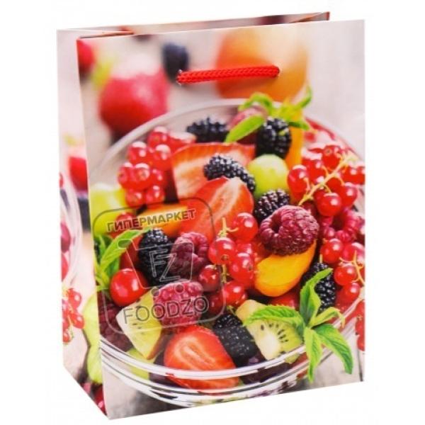 Пакет бумажный подарочный ягодное ассорти, Miland, 1шт (без упаковки)