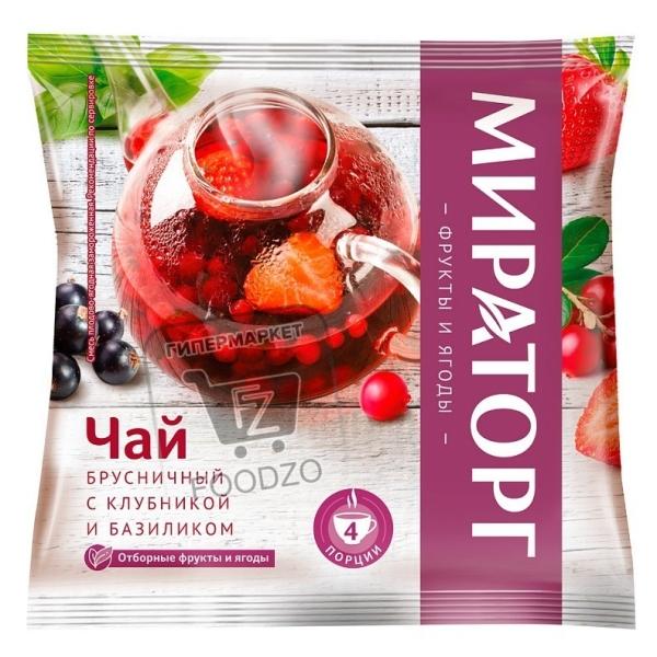 Чай брусничный с клубникой и базиликом, Мираторг, 300г (флоу-пак)
