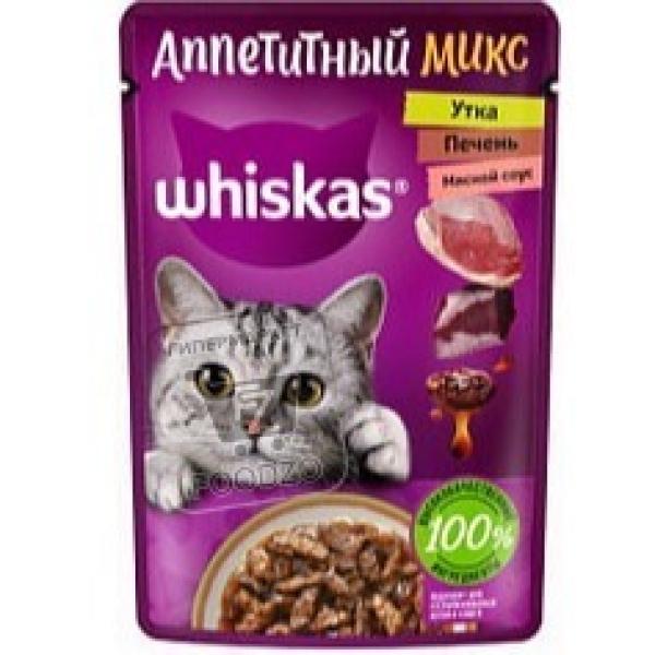 Корм влажный для кошек рагу утка и печень микс, Whiskas, 75г (пауч)