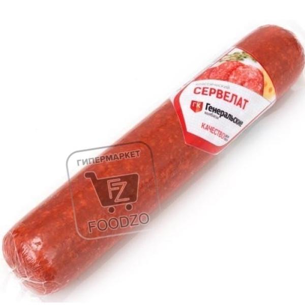 Колбаса варено-копченая сервелат классический, Генеральские колбасы, 600г (вакуумная упаковка)