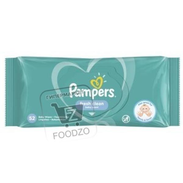 Влажные детские салфетки fresh clean, Pampers, 52шт (флоу-пак)
